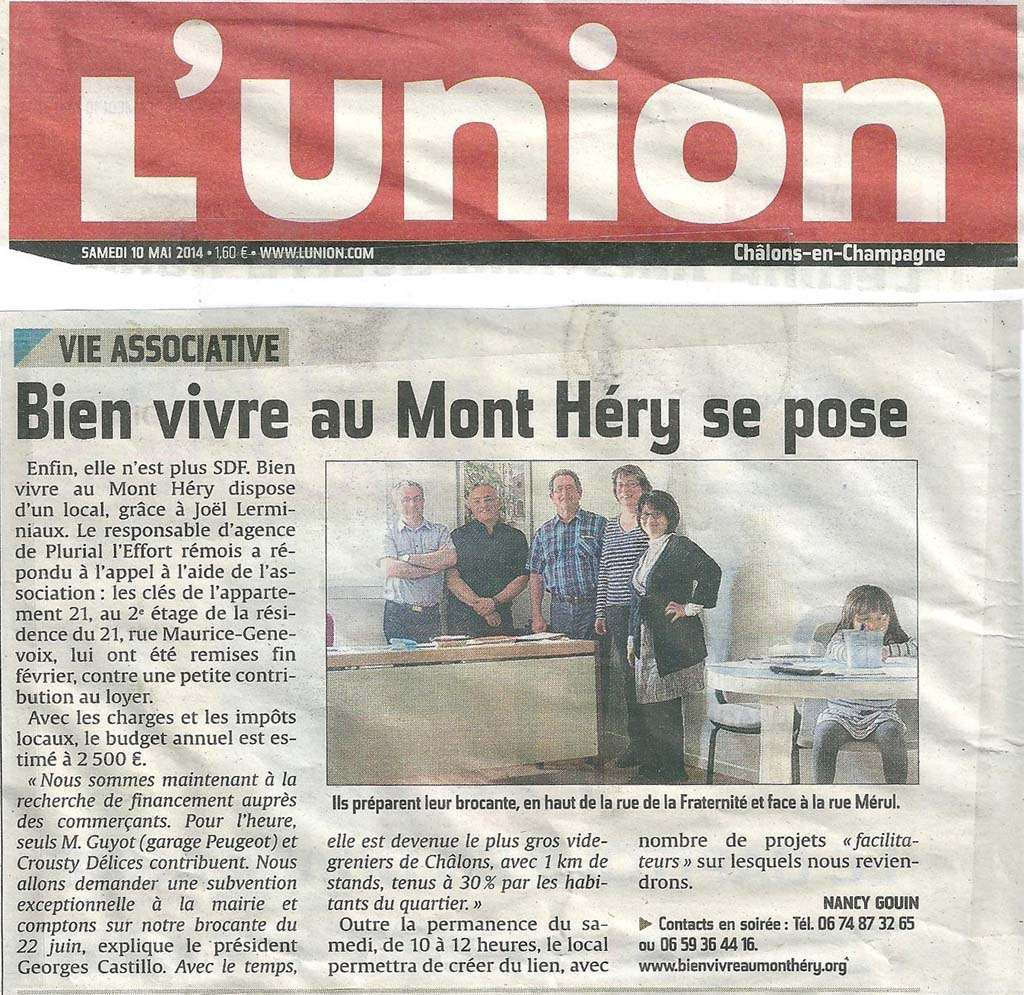 Article l'Union d'avril 2014